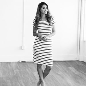 Wren and Ivory XL Black and White Stripped BodyCon